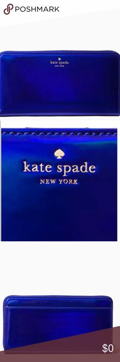 """🆕KATE SPADE 💙Blue ✨Iridescent✨ Rainer Wallet CONDITION: 🆕NWT = NEW With Tags  DESCRIPTION: 💯AUTHENTIC  ✨Holographic✨ 💙royal blue Lacey zipper wallet from Rainer Lane collection. Holds 12 cards, 2 billfolds, zippered change pocket.  ‼️SOLD OUT‼️  MEASUREMENTS:      * 8"""" WIDTH    * 4"""" HEIGHT    * 1"""" DEPTH  TAGS: iridescent dark midnight nightlife navy metallic hologram holograms rainbow rainbows shiny sparkles sparkly glitter glittery shimmer shimmery bling clutch beautiful zips zipped…"""