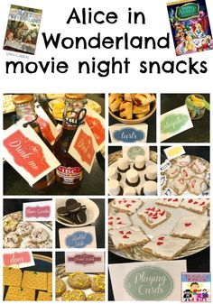 Alice in Wonderland movie night snacks