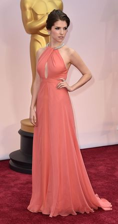 Anna Kendrick in custom Thakoon Panichgul gown attends the 87th Academy Awards ceremony.