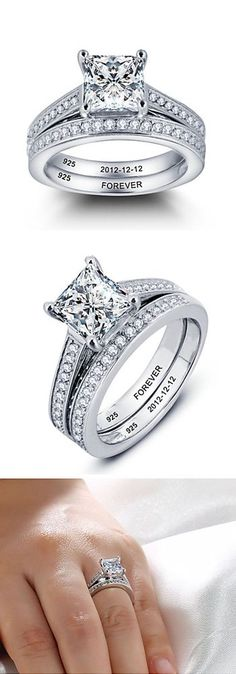 Awesome Personalized Sterling Silver Rings with Stones which are Elegant, Delicate Simple & unique with Diamonds / Cubic Zirconia Sets that are perfect for Engagement, Wedding, anniversary or any occassion. Vintage / Antique yet Modern Solitaire / Three Stone / Round / Oval / Square Shaped Princess Cut Unusual Engagement Ring which is Affordable Cheap / Inexpensive & Fits Budget that can be gifted to Girlfriend / fiancee / Wife / Mother