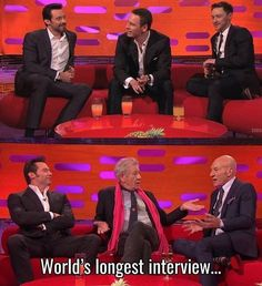 I like the fact that Hugh Jackman/Wolverine hasn't seemed to age at all compared to Magneto & Professor x Dc Memes, Funny Memes, Hilarious, Hugh Jackman, Hugh Wolverine, Z Cam, Shia Labeouf, Film Serie, Wolverines