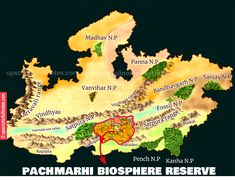 """Pachmarhi Biosphere Reserve, the name Pachmarhi is derived from the Hindi words """"Panch"""" (five) and """"Marhi"""" (caves) - the famous Pandav Caves.🏹🏹👍👍 Hindi Words, Caves, Map, Movie Posters, Location Map, Film Poster, Blanket Forts, Maps, Billboard"""