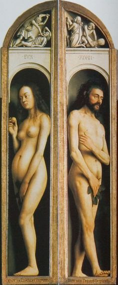 "1426 ""Adam and Eve"" Two panels from a polyptych by Jan and Hubert van Eyck. Cathedral of St. Bavon, Ghent."