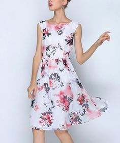 Loving this White & Red Floral A-Line Dress - Plus Too on #zulily! #zulilyfinds