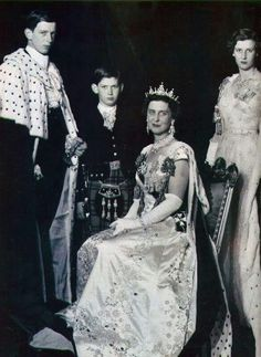 Prince Edward of Kent, Prince Michael of Kent,  Marina Duchess of Kent, Princess Alexandra of Kent - at the Coronation of Queen Elizabeth Ii - 1953