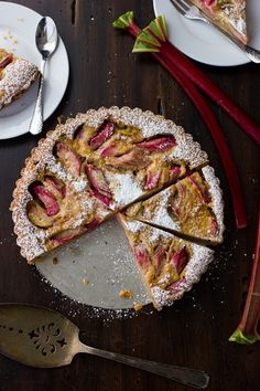 Rhubarb Bourbon Brown Butter Tart with Almond Crust