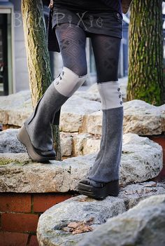 Gray Polar Fleece Steampunk Spats Knee High Shoe Boot by blupixie