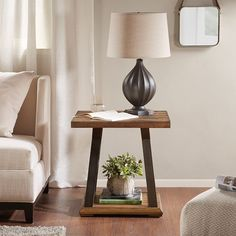 Look no further for the centerpiece of your living room design. With thick wood in elm veneer with a natural distressed finish , as well as gunmetal X base design this end table is sure to blend in any décor. Modern Coffee Tables, End Tables, Living Room Designs, Bedroom Furniture, Mid-century Modern, Shelves, Rustic, Wood, Base
