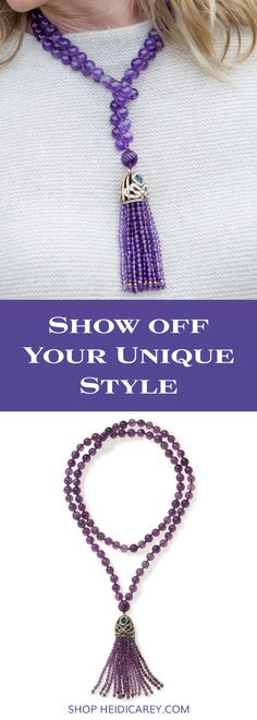 Make a signature style statement with our chunky amethyst necklace with bold Turkish tassel and deeply hued semi-precious gemstones. Vintage Inspired Necklace | Amethyst Necklace | Over 50 Fashion