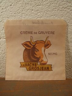 Sachet Crème de Gruyère la Vache Grosjean Fromage Lait / Pop bag advertising french cheese cow scrap