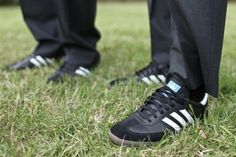 "KICKIN' AROUND: The groomsmen were all outfitted with Adidas Sambas, and Kiften's dad took a particular liking to the indoor soccer shoes. Laughs Kiften, ""My dad thought they were the coolest! He wears them all the time now."""