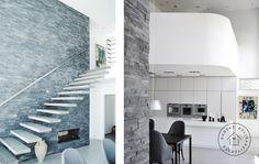 Rå væg, svævende trappetrin og gennemgående gaspejs