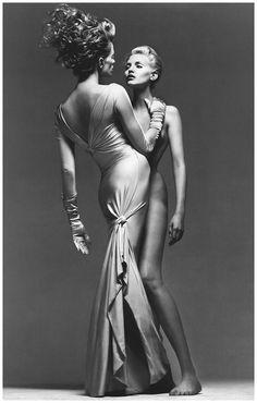 Nadja Auermann and Kristen McMenamy lensed by Richard Avedon for Atelier Versace S/S 1995