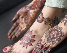 mehndi with color | MEHNDI DESIGN: Stone Studded Mehndi Design for Bridals Foot