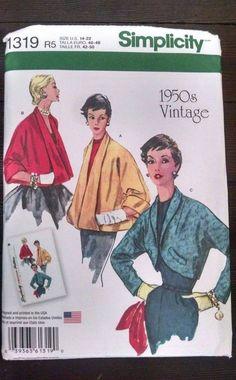 Vtg 50s Simplicity Pattern 1319 Fancy Party Jackets Size R5 14-22 Uncut #Simplicity