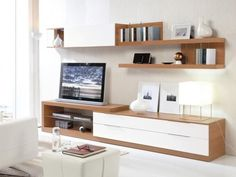 Walnut and White Wall Storage & Display with TV Stand & Shelves Living Room Tv Unit, Living Room Furniture, Living Room Decor, Furniture Stores, Living Rooms, Tv Stand Shelves, Room Shelves, Muebles Living, Tv Wall Design