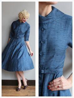 1950s Dress // Blue Eyes Silk Dress // vintage by dethrosevintage