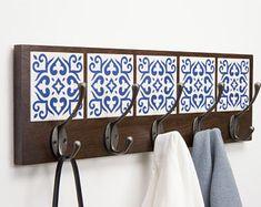 """ – dark brown oak wood & hand made tiles Azulejo Coat Rack ""Bom dia!"" – dark brown oak wood & hand made tiles Ceramic Tile Crafts, Tile Tables, Tile Projects, Tile Art, Diy Furniture, Industrial Furniture, Wood Crafts, Home Accessories, Diy Home Decor"