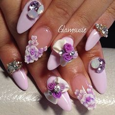 #nailart #instanails #kawaii Bouquet of roses on her fingers!! ✨ beautiful pinkie tiara charms from @daily_charme and lilac and opal Swarovski chatons from the sweet @sabrina_ils thanks ladies for my nail jewels ✨✨