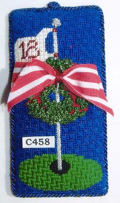 C458 - Christmas at the Course, needlepoint golf ornament, princess & me