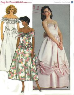 ON SALE 80s Vintage Evening Gown Bride di AnnesVintagePatterns, $8.50