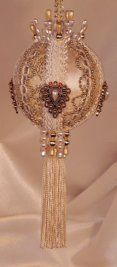 Handmade in America - Victorian Style Ornament - Ivory and Gold Tassel Ornament