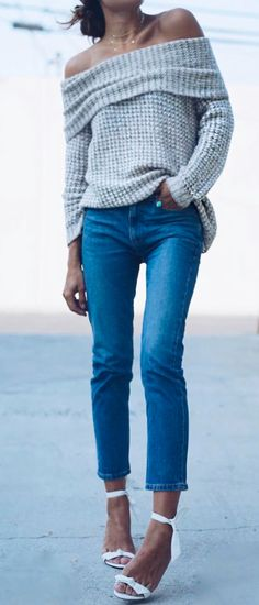 Fall style...off shoulder sweater with skinnies & white heels