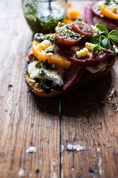 Tomato, Salami and Chunky Arugula-Basil Pesto Bruschetta | halfbakedharvest.com @hbharvest