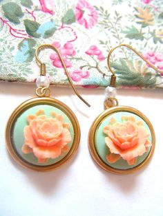Mint rose Earrings
