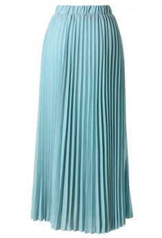 Chiffon Seafoam Pleated Maxi Skirt