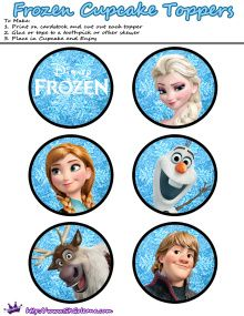 Cupcake toppers | Free Printables for the Disney Movie Frozen | SKGaleana