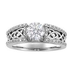 Round Diamond Celtic Knot Engagement Ring Pave Diamonds band in 14K White Gold gladys1974