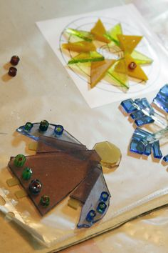 fused glass angels and star ornaments in progress