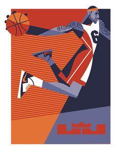 Lebron by Pablo Lobato, Buenos Aires Graphic Design Illustration, Illustration Art, Sports Graphic Design, Basketball Art, Ecole Art, Sports Graphics, Sports Art, Lebron James, Illustrations Posters