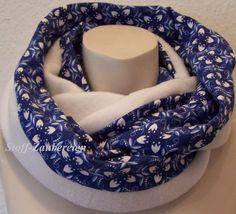 Jersey Blue Porcelaine kombi Fleece weiß Damen Loop Schlauchschal Schlupfschal