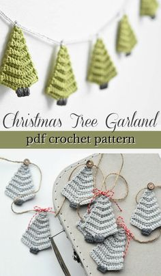 Quick Handmade Gifts Such a lovely crochet pattern for this simple Christm. - Quick Handmade Gifts Such a lovely crochet pattern for this simple Christmas tree garland! Make a whole garland or make one as a tree ornament. Makes a quick handmade gift! Christmas Tree Garland, Christmas Crochet Patterns, Crochet Christmas Ornaments, Holiday Crochet, Christmas Diy, Christmas Applique, Christmas Projects, Simple Christmas Crafts, Holiday Crafts