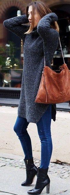 Long Grey Chunky Knit + Denim                                                                             Source