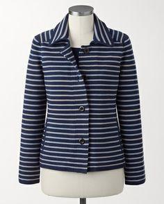 Stripe sweater jacket - [K22107]