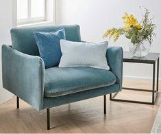 Fotel z aksamitu Moby, Poszewka: niebieskozielony Nogi: czarny