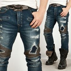 Bottoms :: Heavy Distressed Vintage Blue Skinny Jeans - 95 - New and Stylish - Fast Mens Fashion - Mens Clothing - Product
