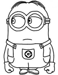 Dave Happy Two Eyed Minion Coloring Page