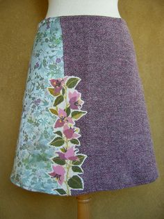 Brocade, tweed and embroidery skirt, A-line skirt, chinoiserie skirt, lined, cotton brocade, aqua purple pink, size Medium