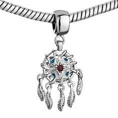 Pugster Sienna Drip Gum Dangle Feather Pandora European Beads Beaded Fit Pandora Charm Bracelet: Jewelry: Amazon.com