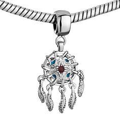 Pugster Sienna Drip Gum Dangle Feather Pandora European Beads Beaded Fit Pandora Charm Bracelet: Jewelry: Amazon.com