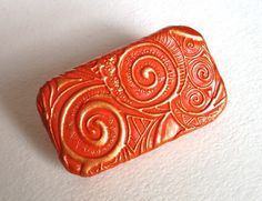 Metal Pill Box Apricot Spiral Swirls Purse Accessory Vitamin Holder Flat Slide Top Tin Unique Handmade Gift FREE Velvet Gift Pouch by claytheism on Etsy https://www.etsy.com/listing/222181525/metal-pill-box-apricot-spiral-swirls