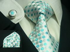 Silver and Turquoise Necktie Set (JPM348) Frm ckd onto bd: Groomsmen