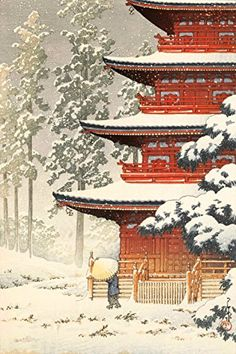 "Japanese Art Print ""Saishoin Temple in Snow, Hirosaki"" by Kawase Hasui. Shin Hanga and Art Reproductions http://www.amazon.com/dp/B00VCGIBKW/ref=cm_sw_r_pi_dp_evbtwb0JQQHYK"