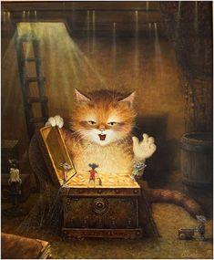 Art of Alexander Maskaev Art And Illustration, Cat Illustrations, Image Chat, Curious Cat, Here Kitty Kitty, Funny Art, I Love Cats, Cat Art, Neko
