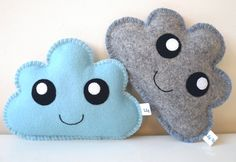 Kawaii Clouds set of two, Cloud Softies, Blue and Grey Clouds, Cloud Pillows, Baby Shower Gift, New baby gift, Nursery gift, Nursery decor by LilyRazz on Etsy