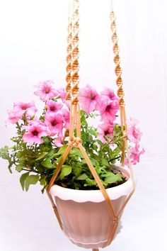 Beige Macrame Plant Hanger Great Gift Idea 50 inches Long Plant Holder 5mm Thick